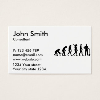 Evolution construction worker business card