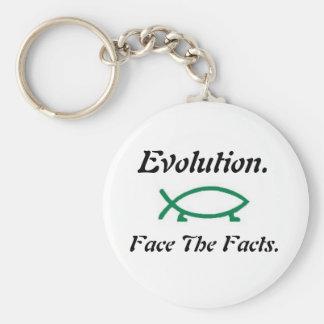 Evolution-Darwin Fish Basic Round Button Key Ring