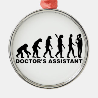 Evolution doctor's assistant metal ornament