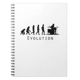 Evolution Drums Drummer Funny Drumming Musician Notebook