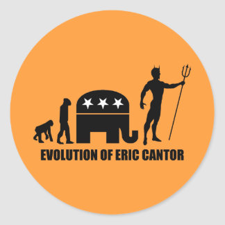evolution Eric Cantor Round Sticker