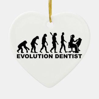 Evolution female dentist ceramic ornament