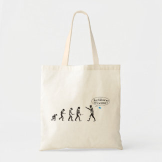 Evolution - Just follow on to twitter me Budget Tote Bag