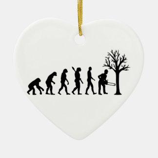Evolution lumberjack ceramic heart decoration