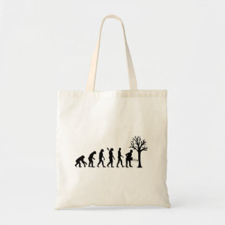 Evolution lumberjack tote bag