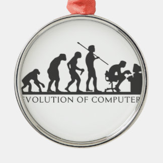 EVOlution OF COMPUTER Silver-Colored Round Decoration