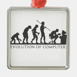 EVOlution OF COMPUTER Silver-Colored Square Decoration