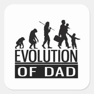 evolution of dad square sticker