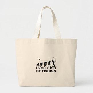 evolution of fishing large tote bag