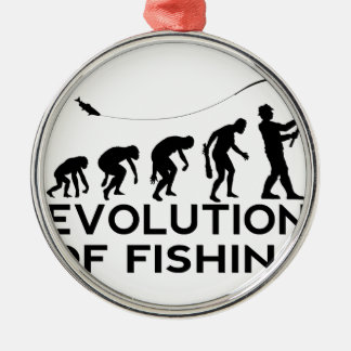 evolution of fishing Silver-Colored round decoration