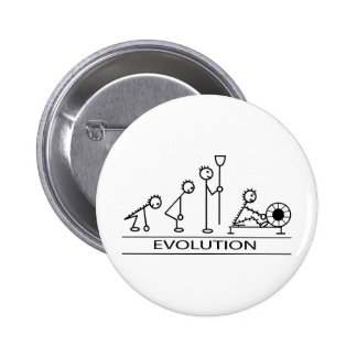 Evolution of man with rowing 6 cm round badge