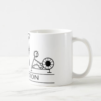 Evolution of man with rowing coffee mug