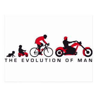 evolution OF one motorcycle more biker Postcard