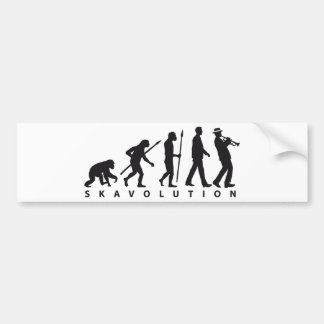 evolution OF one ska trumpet more player Bumper Sticker