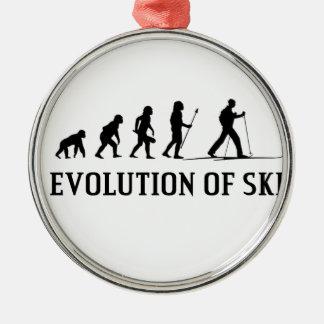 Evolution Of Ski Silver-Colored Round Decoration
