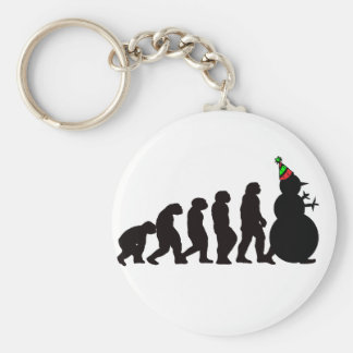 Evolution of Snowman, Fun Winter Apparel and Gifts Key Ring