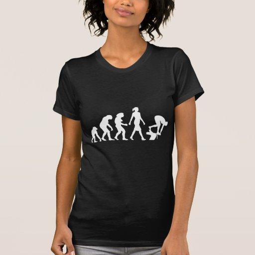 evolution of swimmer on start block t-shirt