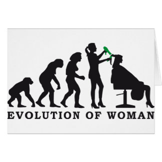 evolution OF woman female more hairdresser Card