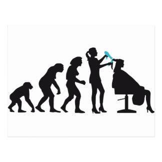 evolution OF woman female more hairdresser Postcard
