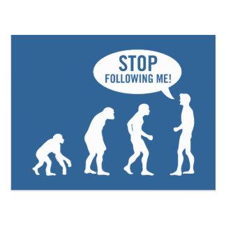 evolution - stop following me! postcard