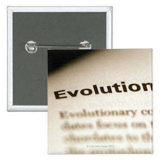 Evolution text on page 15 cm square badge