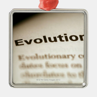 Evolution text on page Silver-Colored square decoration