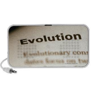 Evolution text on page travel speaker