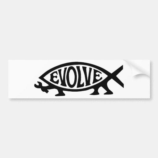 Evolve fish bumper stickers zazzle for Fishing car stickers