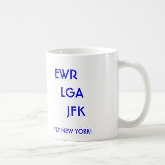EWR   LGA     JFK, I FLY NEW YORK! BASIC WHITE MUG