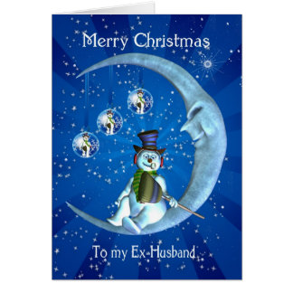 Ex-Husband Christmas Card - Snowman And Moon