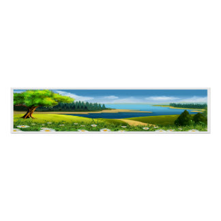 Ex Lg Peaceful Stream Scene Panoramic Art Poster