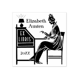 Ex Libris Bookplate Deco Lady Writing Desk Custom Rubber Stamp