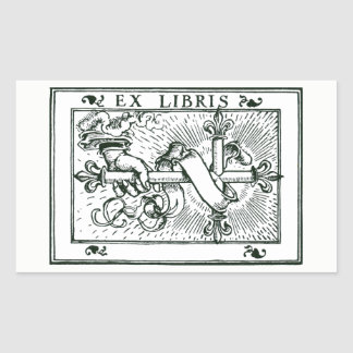 Ex Libris Fleur De Lys Cross Rectangular Sticker