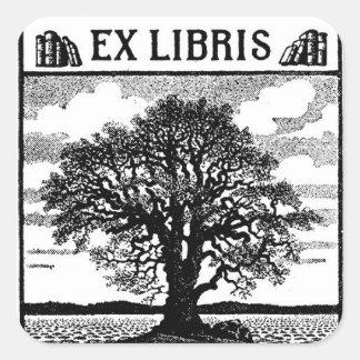Ex Libris Tree Bookplate Square Sticker