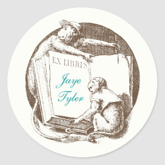 Ex Libris Vintage Monkeys Bookplate Round Sticker