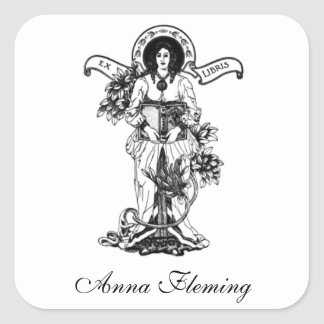 Ex Libris Woman with Book Square Sticker