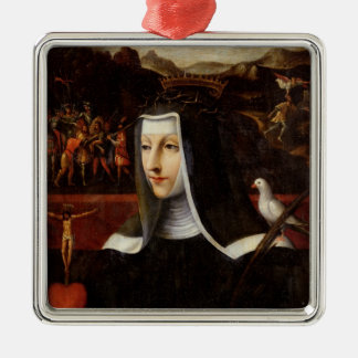 Ex Voto dedicated to St. Catherine of Siena Silver-Colored Square Decoration