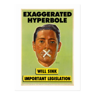Exaggerated Hyperbole Postcard