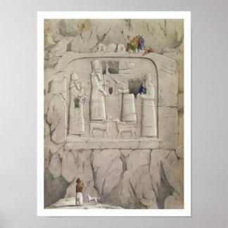 Examining an Assyrian Rock Sculpture, from 'Discov Poster