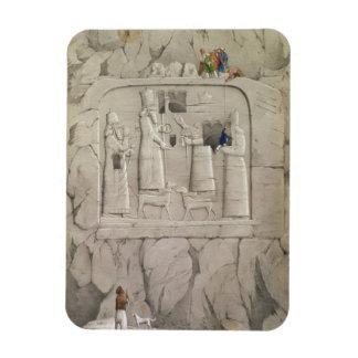 Examining an Assyrian Rock Sculpture, from 'Discov Rectangular Photo Magnet