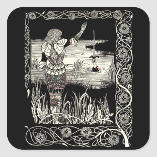 Excalibur Rising from  the Lake Square Sticker