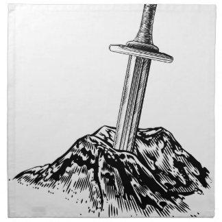 Excalibur Sword in the Stone Illustration Napkin