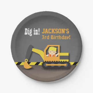 Excavator Construction Birthday Party Supplies Paper Plate