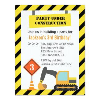 Excavator Construction Theme kids Birthday Party 11 Cm X 14 Cm Invitation Card