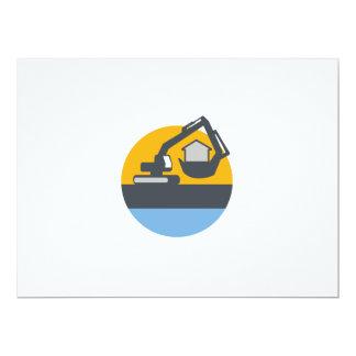 Excavator Digger Handling House Circle Retro 17 Cm X 22 Cm Invitation Card