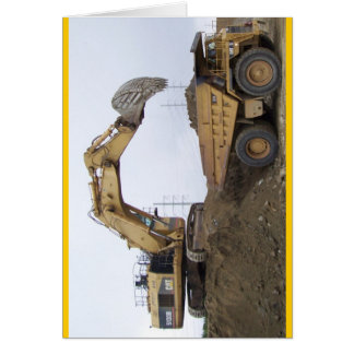 Excavator/Dump Truck Greeting Card