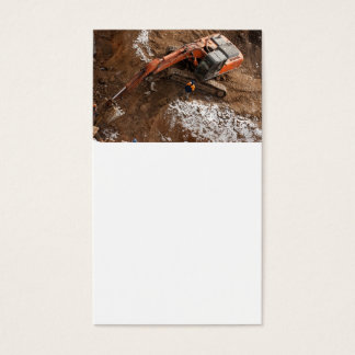 Excavator on a construction plant business card