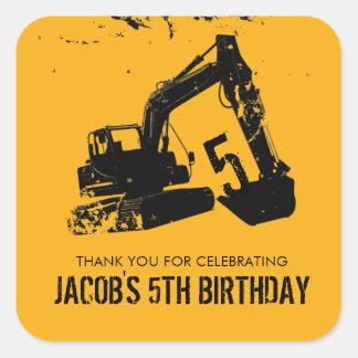 Excavator Party Favor Label