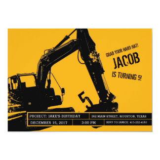 Excavator Party Invitation for Construction Party