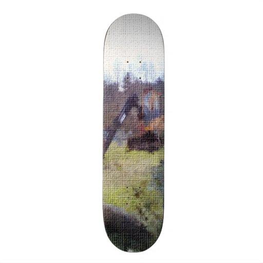 excavator photo texture custom skate board